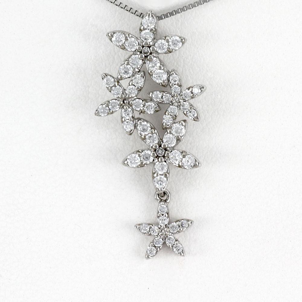 ダイヤモンド ネックレス ペンダント レディース フラワー プラチナ 揺れる ブラ