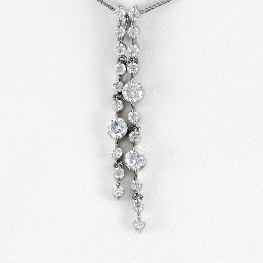 ダイヤモンド ネックレス ペンダント レディース プラチナ ロング ストレート 揺れる ブラ pt900 1.0カラット