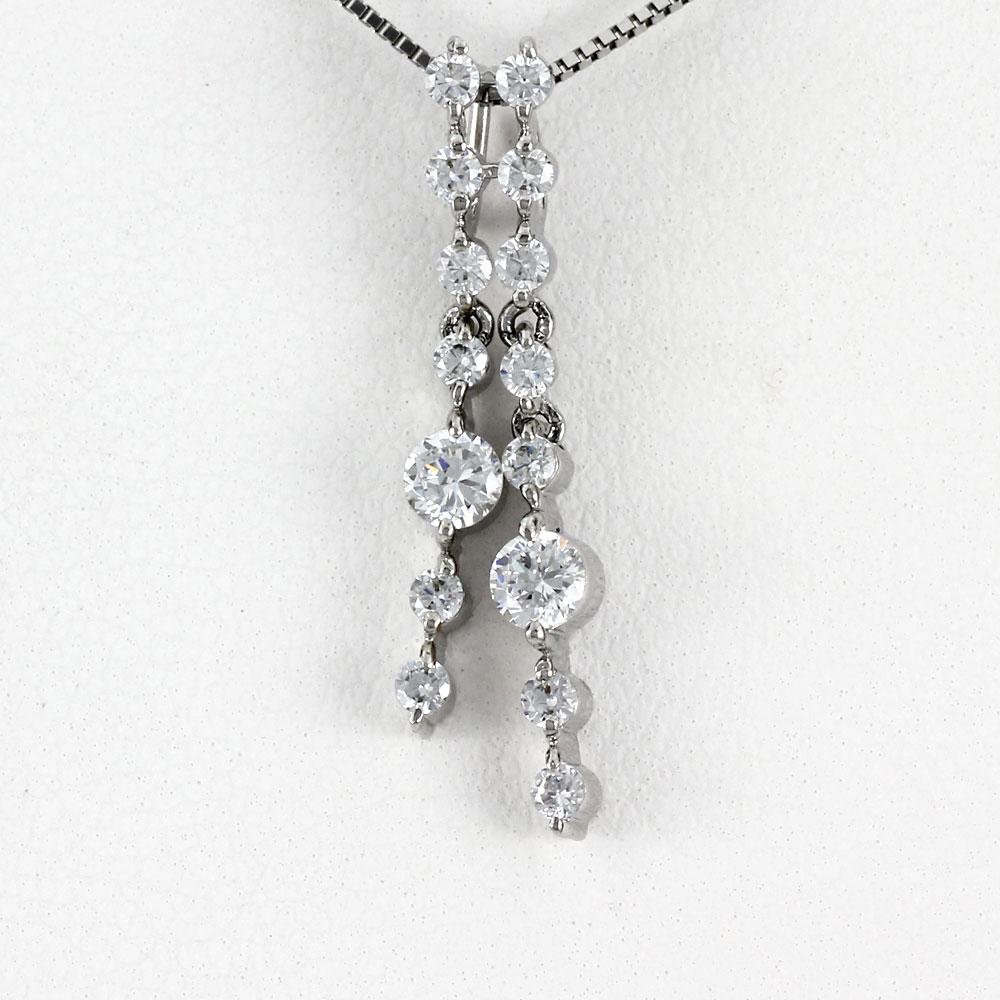 ダイヤモンド ネックレス ペンダント レディース プラチナ ロング ストレート 揺れる ブラ pt900 0.5カラット