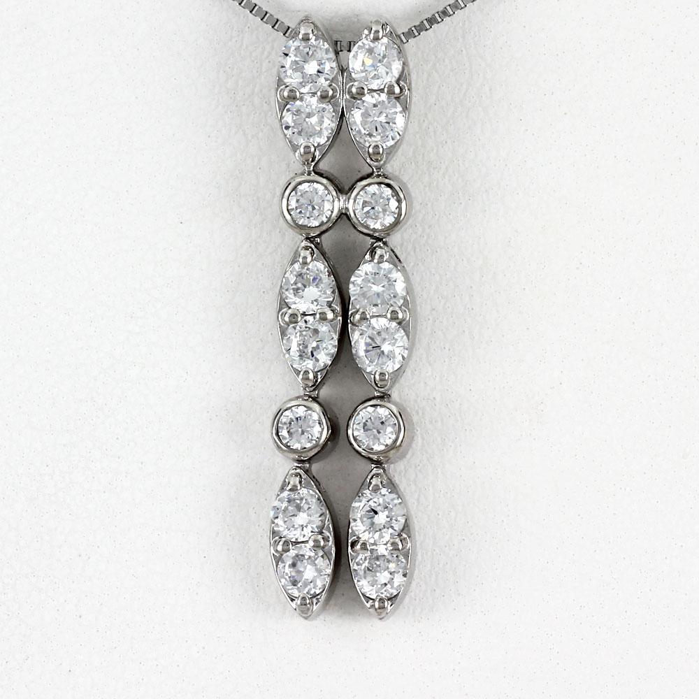 ダイヤモンド ネックレス ペンダント レディース プラチナ ロング ストレート 揺れる ブラ マーキス pt900 1.0カラット