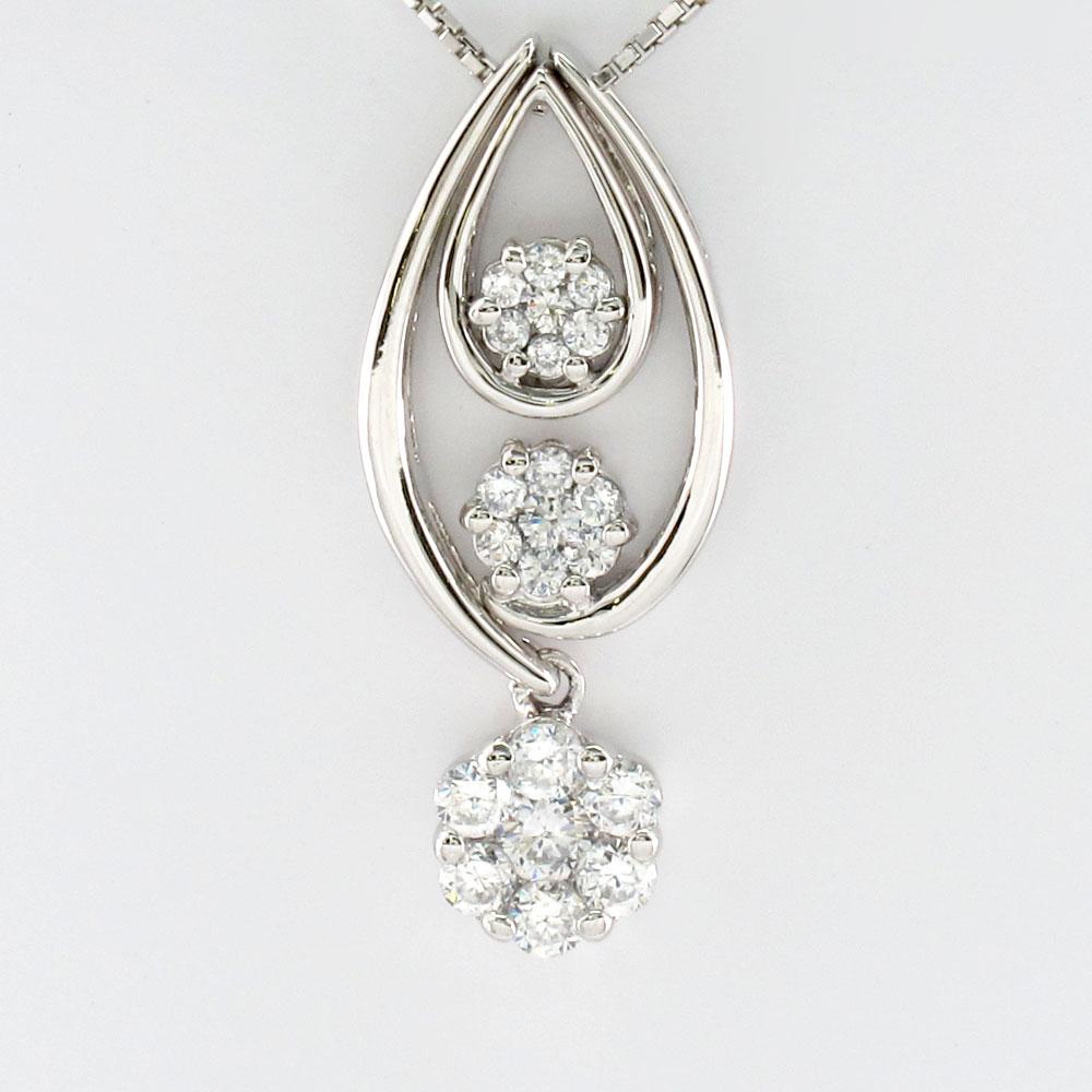 ダイヤモンド ネックレス ペンダント レディース セパレート ミステリー 揺れる ブラ プラチナ pt900 0.7カラット