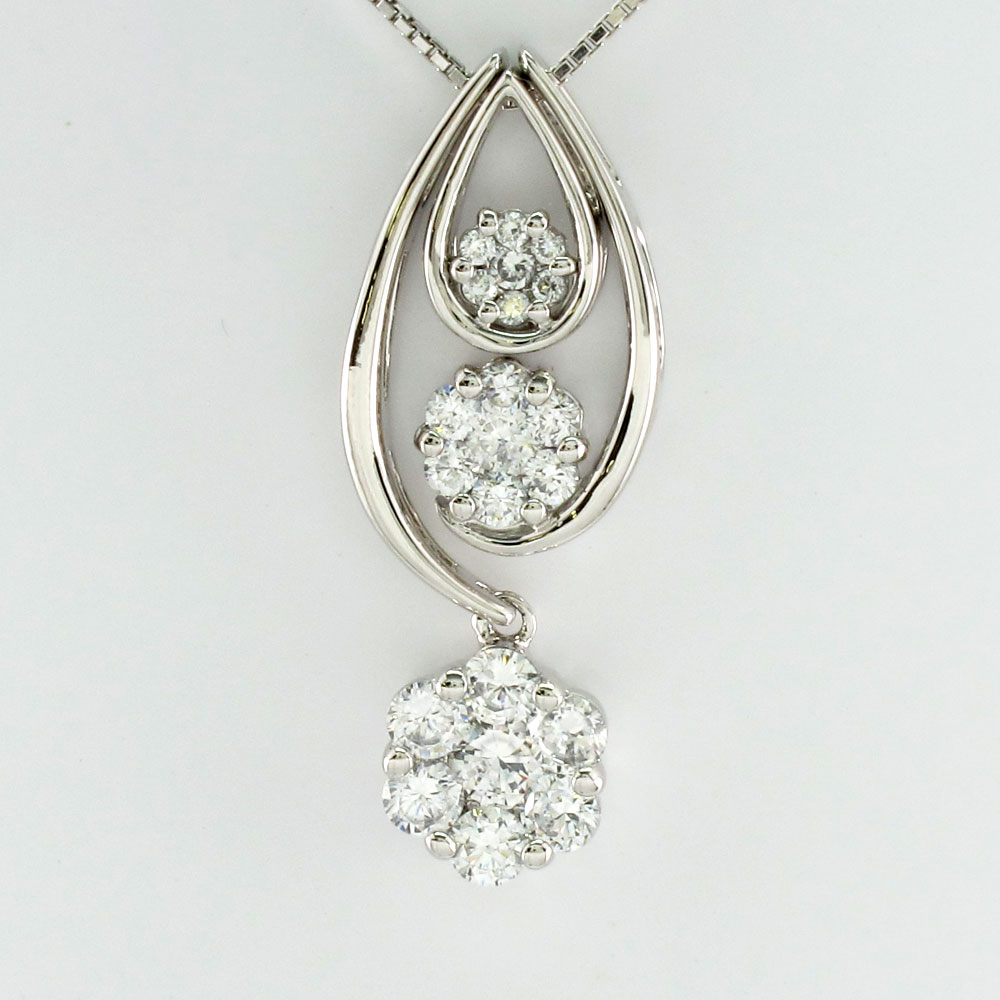 ダイヤモンド ネックレス ペンダント レディース セパレート ミステリー ゴージャス 揺れる ブラ プラチナ pt900 1.0カラット