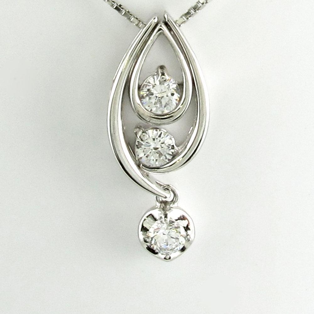 ダイヤモンド ネックレス 一粒 18k ペンダント レディース セパレート トリロジー 揺れる ブラ 0.3カラット ゴールド k18 18金