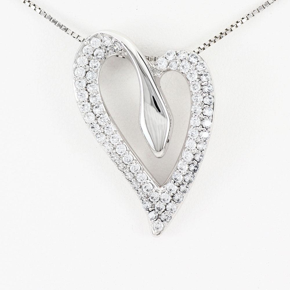ハート ネックレス ダイヤ ペンダント レディース ダイヤモンド パヴェ プラチナ ゴージャス pt900 1.0カラット