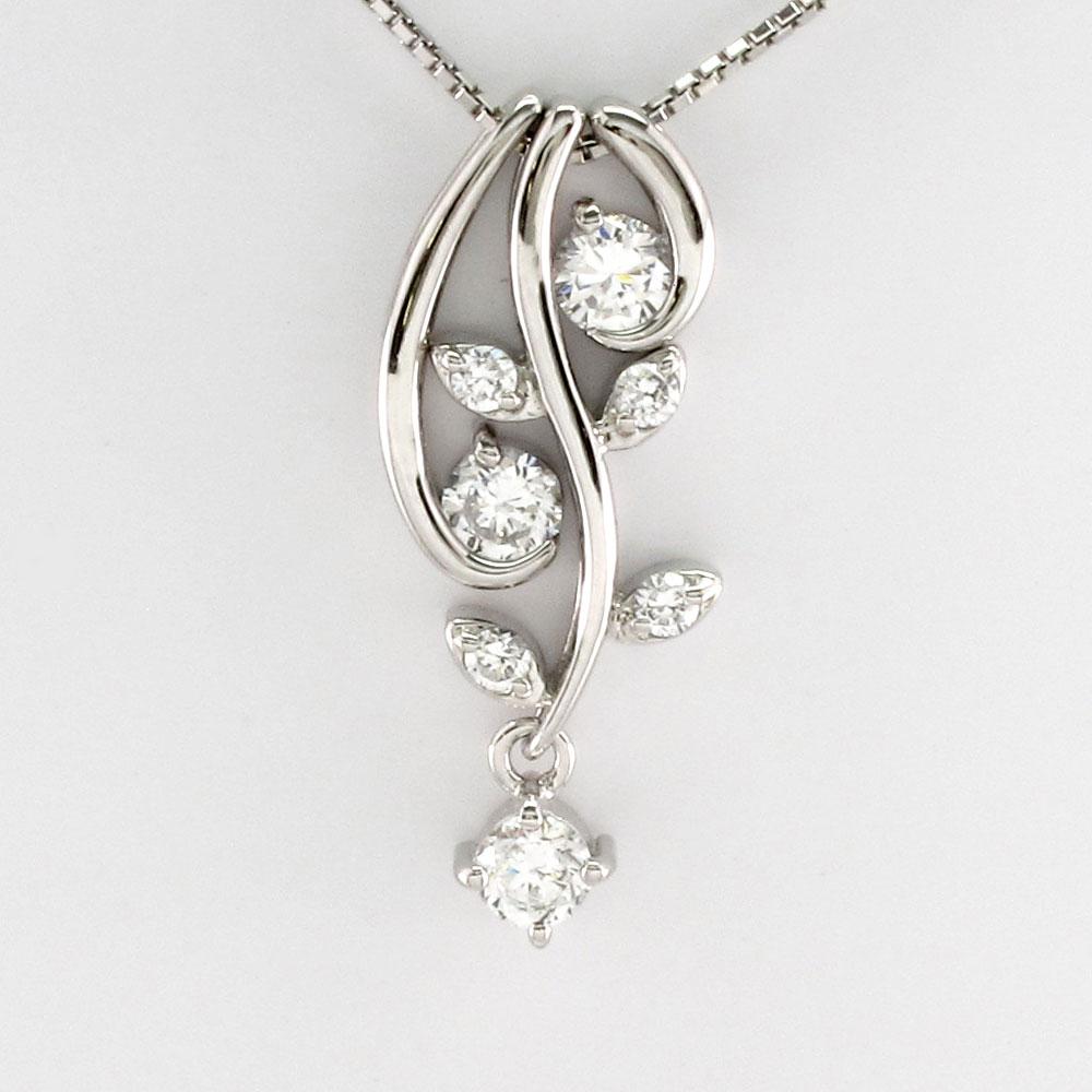 ダイヤモンド ネックレス 18k ペンダント レディース セパレート フラワー 花 蔦 ブラ 揺れる 0.5カラット ゴールド k18 18金