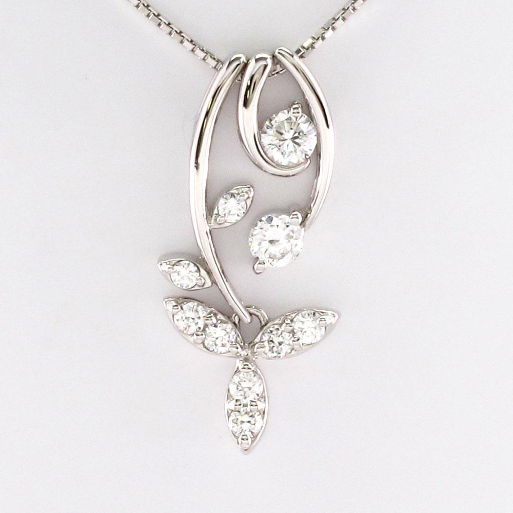 ダイヤモンド ネックレス ペンダント レディース セパレート フラワー 花 蔦 ブラ 揺れる プラチナ pt900 0.5カラット
