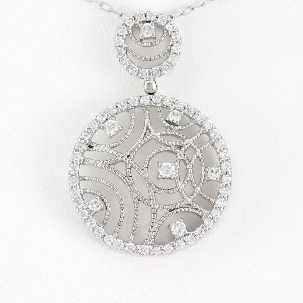 ダイヤモンド ネックレス 18k ペンダント レディース アンティーク ミル 透かし サークル ゴールド k18 18金