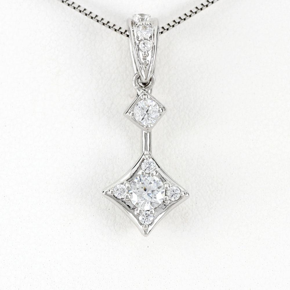 ダイヤモンド ネックレス ペンダント レディース プラチナ ブラ 揺れる スクエア pt900