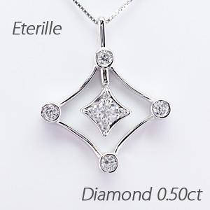 ダイヤモンド ネックレス 18k ペンダント レディース ひし形 菱形 揺れる ブラ 0.5カラット ゴールド k18 18金