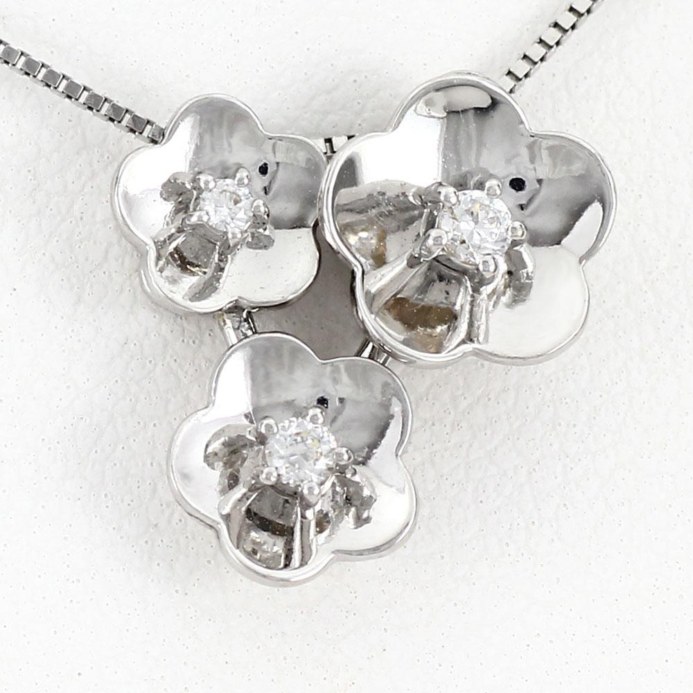 ダイヤモンド ネックレス ペンダント レディース フラワー 花 トリロジー 2ウェイ 2way プラチナ pt900