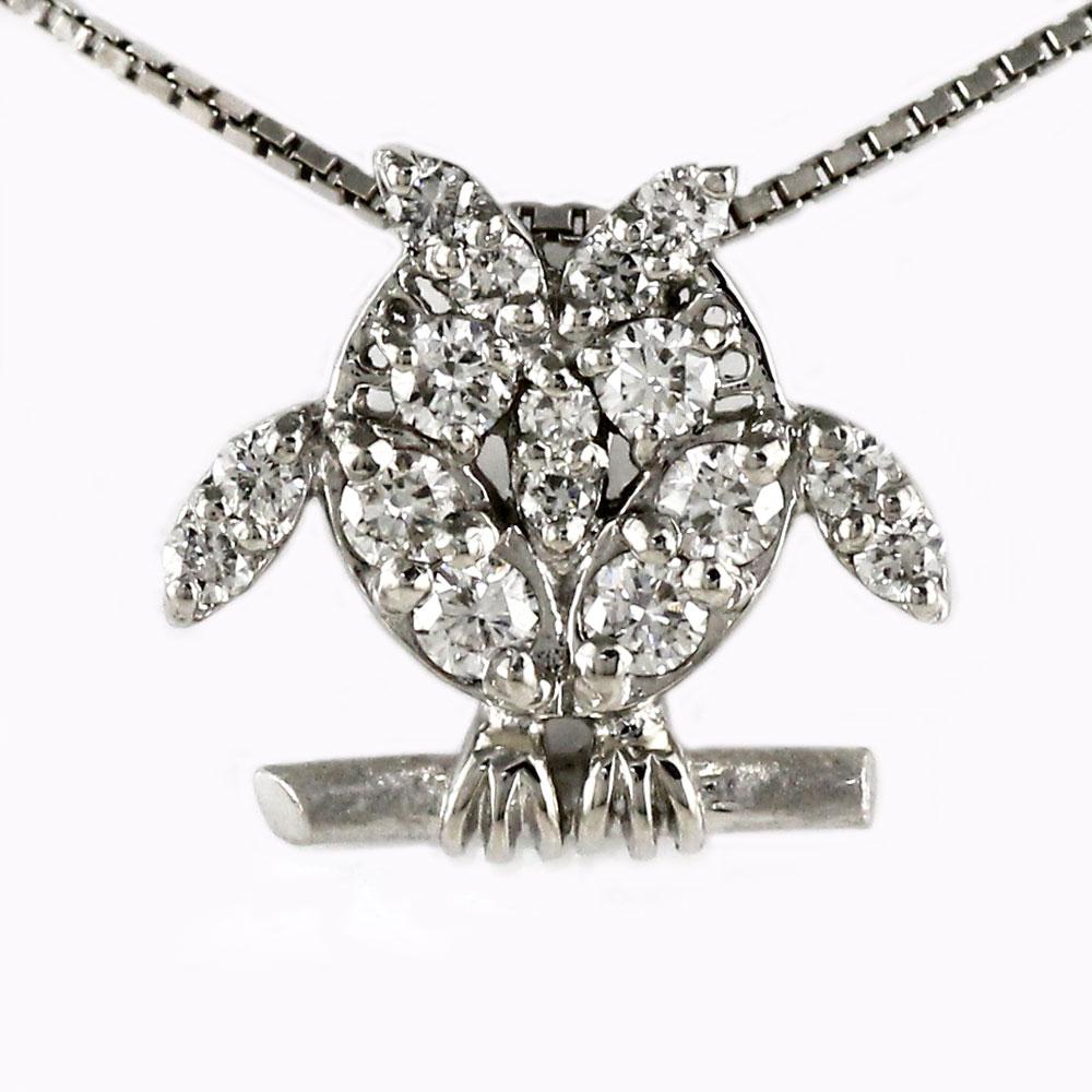 ダイヤモンド ネックレス 18k ペンダント レディース フクロウ 梟 アニマル ゴールド k18 18金