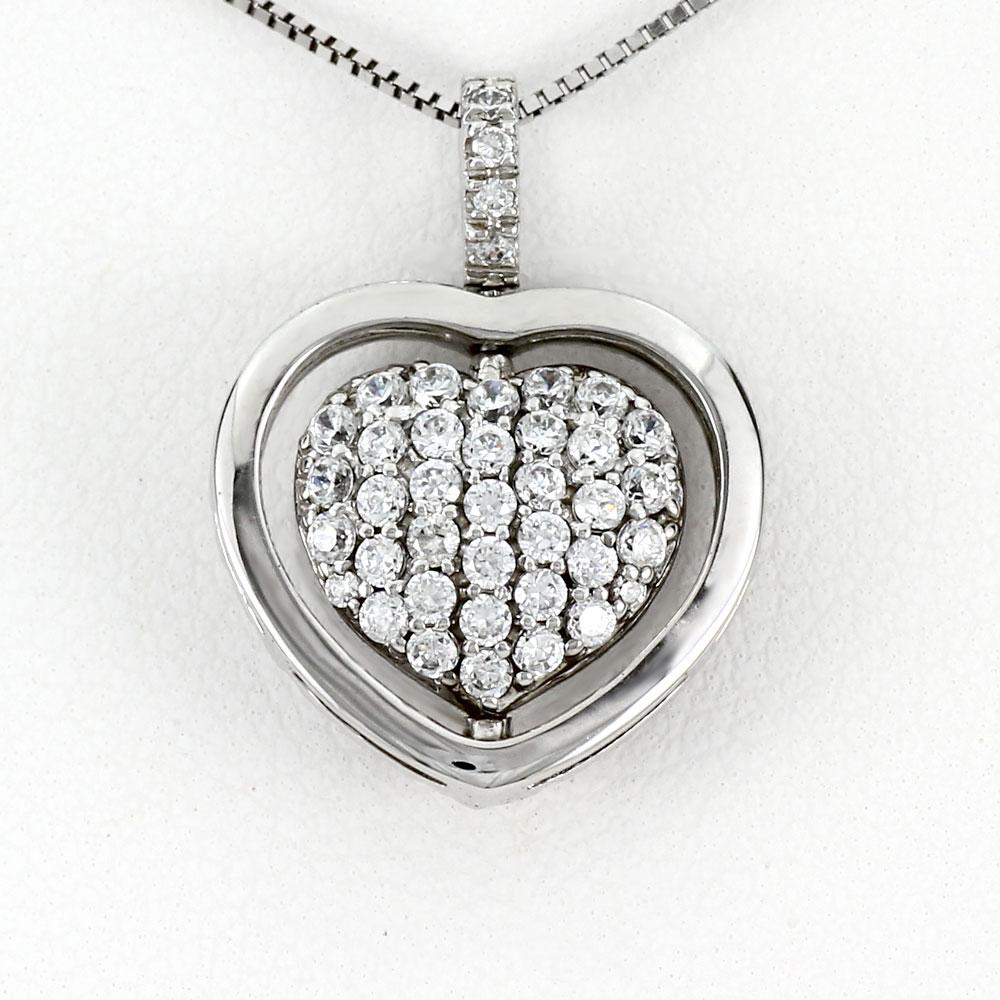 ハート ネックレス ダイヤ ペンダント レディース ダイヤモンド パヴェ プラチナ 2ウェイ 2way pt900