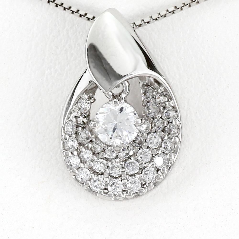 ダイヤモンド ネックレス 一粒 プラチナ ペンダント レディース パヴェ 揺れる スイング ブラpt900