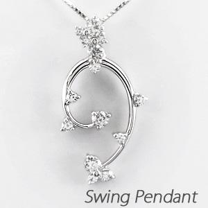 ダイヤモンド ネックレス 18k ペンダント レディース 揺れる ブラ つた 蔦 0.5カラット ゴールド k18 18金