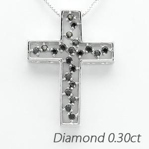 ブラックダイヤモンド ネックレス ペンダント レディース クロス 十字架 アンティーク 透かし プラチナ pt900 0.3カラット
