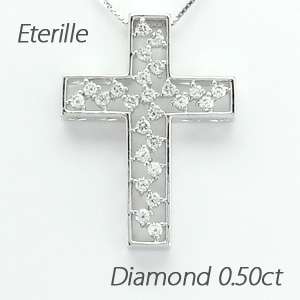 ダイヤモンド ネックレス 18k ペンダント レディース クロス 十字架 アンティーク 透かし 0.5カラット ゴールド k18 18金