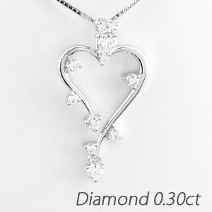 ハート ネックレス ダイヤ ペンダント レディース ダイヤモンド つた 蔦 揺れる ブラ 0.3カラット ゴールド k18 18k 18金