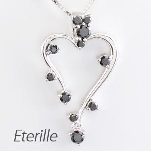 ブラックダイヤモンド ハート ネックレス ダイヤ ペンダント レディース ダイヤモンド つた 蔦 揺れる ブラ プラチナ pt900 0.3カラット