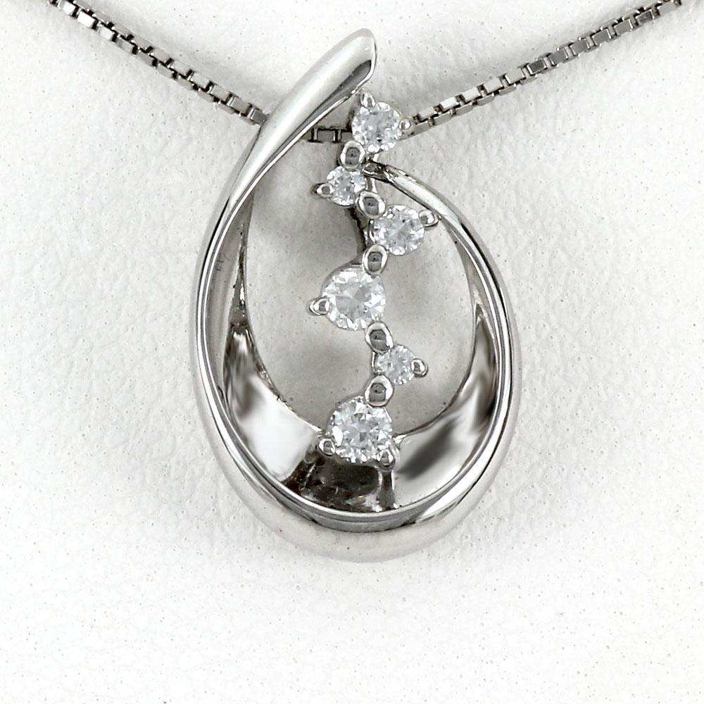 ダイヤモンド ネックレス ペンダント レディース プラチナ ドロップ しずく つゆ 雫 露 pt900