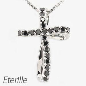 ブラックダイヤモンド ネックレス ペンダント レディース クロス 十字架 クローバー ツイスト ねじり 0.2カラット プラチナ pt900