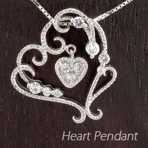 ハート ネックレス ダイヤ ペンダント レディース ダイヤモンド オープンハート フラワー 花 アンティーク 揺れる プラチナ pt900