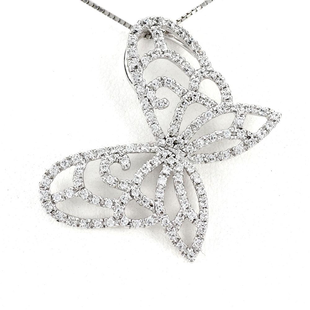 ダイヤモンド ネックレス ペンダント レディース バタフライ 蝶 蝶々 プラチナ ゴージャス 透かし pt900