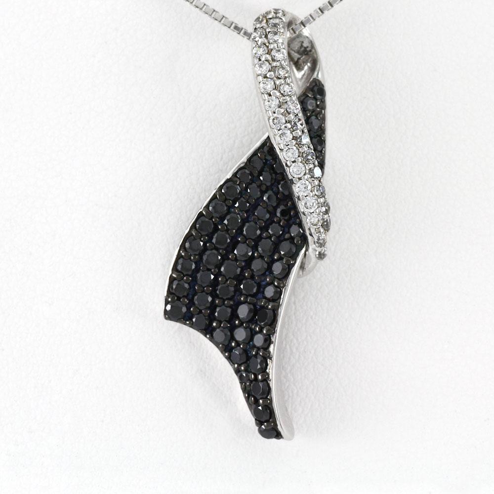 ブラックダイヤモンド ネックレス ペンダント レディース パヴェ ゴージャス ラグジュアリー ゴールド k18 18k 18金
