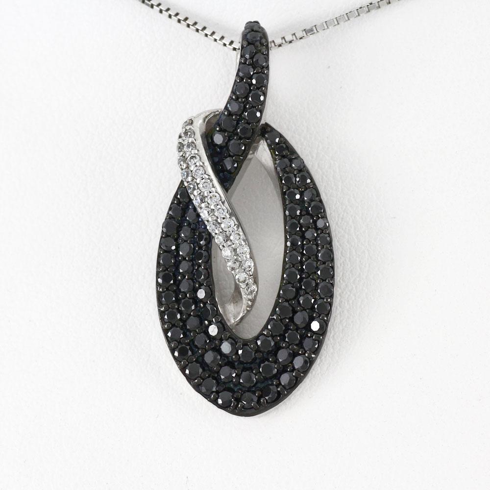 ブラックダイヤモンド ネックレス ペンダント レディース オーバル パヴェ ゴージャス ラグジュアリー プラチナ pt900