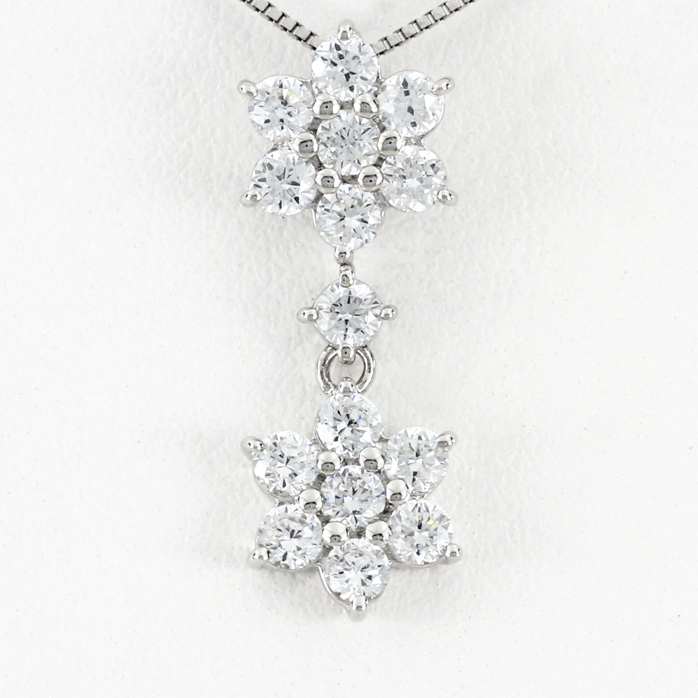ダイヤモンド ネックレス ペンダント レディース フラワー 花 ブラ 揺れる プラチナ pt900