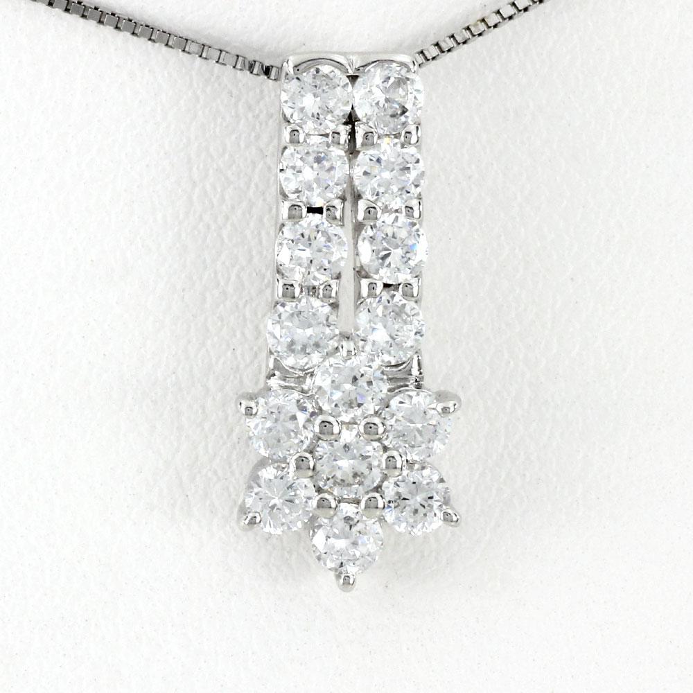 ダイヤモンド ネックレス ペンダント レディース フラワー 花 パヴェ プラチナ ゴージャス pt900 1.0カラット