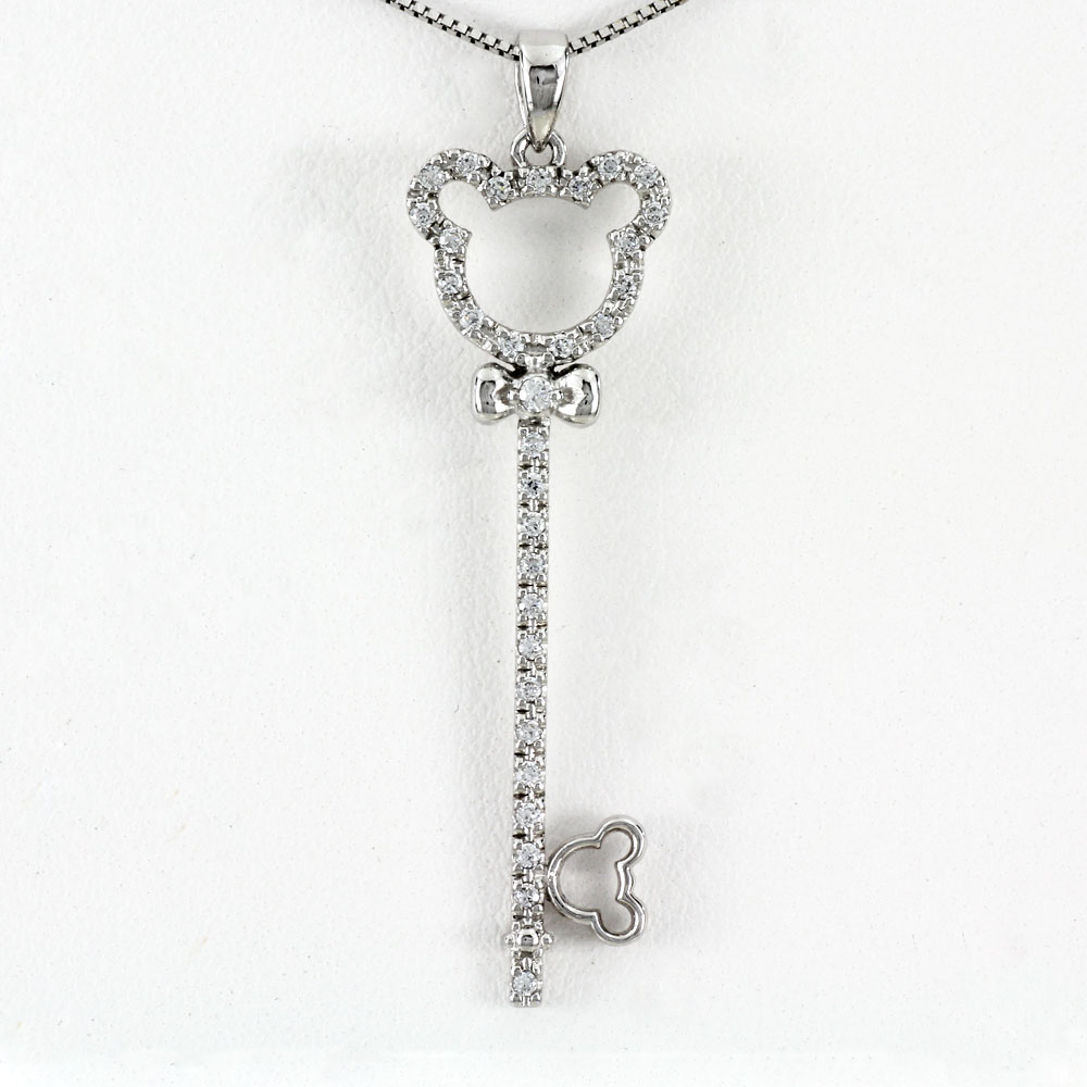 ダイヤモンド ネックレス 18k ペンダント レディース キー クマ 熊 ベアー アニマル 鍵 ゴールド k18 18金