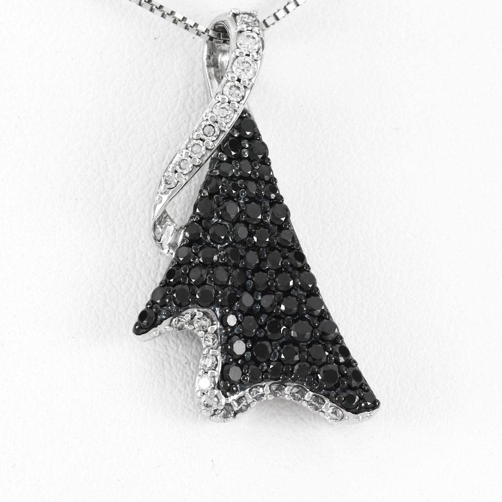 ブラックダイヤモンド ネックレス ペンダント レディース パヴェ ゴージャス ラグジュアリー プラチナ pt900