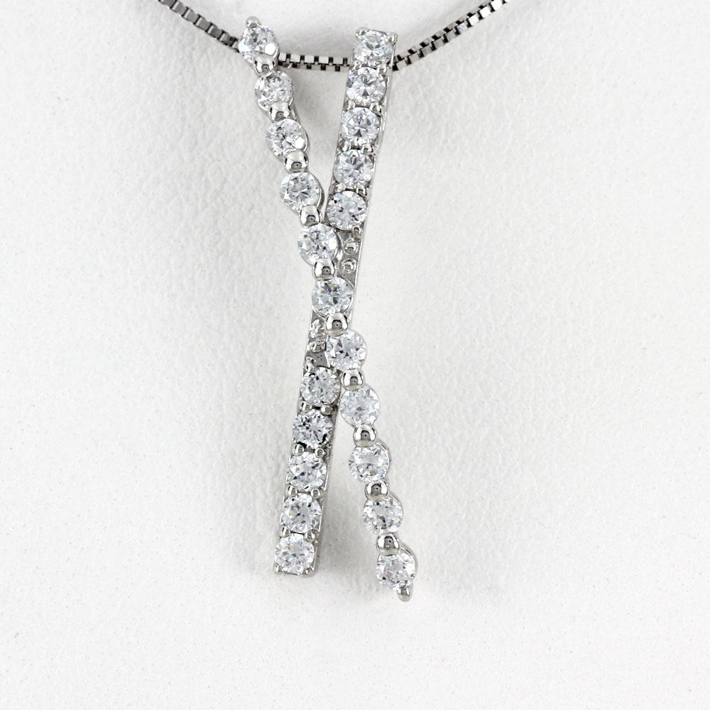 ダイヤモンド ネックレス ペンダント レディース プラチナ X字 クロス pt900