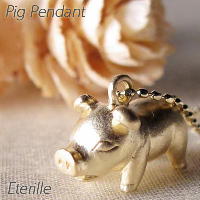 ダイヤモンド ネックレス 18k ペンダント レディース 豚 ぶた ピッグ アニマル 地金 ゴールド k18 18金