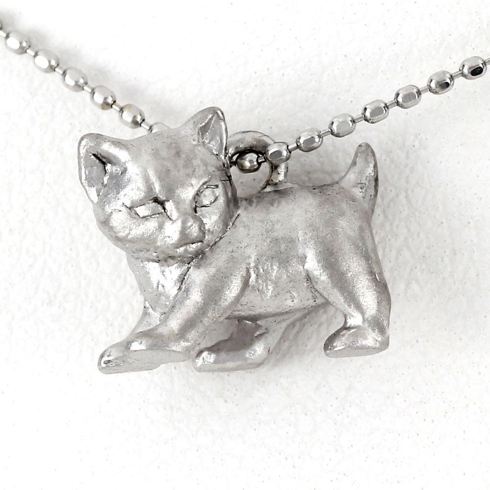 ダイヤモンド ネックレス ペンダント レディース 猫 ネコ キャット プラチナ アニマル 無垢 地金 pt900
