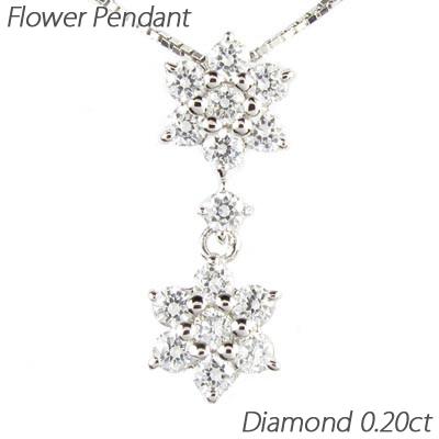 ダイヤモンド ネックレス 18k ペンダント レディース フラワー 花 ブラ 揺れる 0.5カラット ゴールド k18 18金