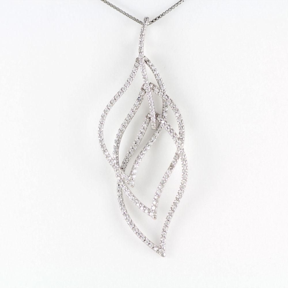 ダイヤモンド ネックレス ペンダント レディース プラチナ リーフ 葉 植物 Pt900