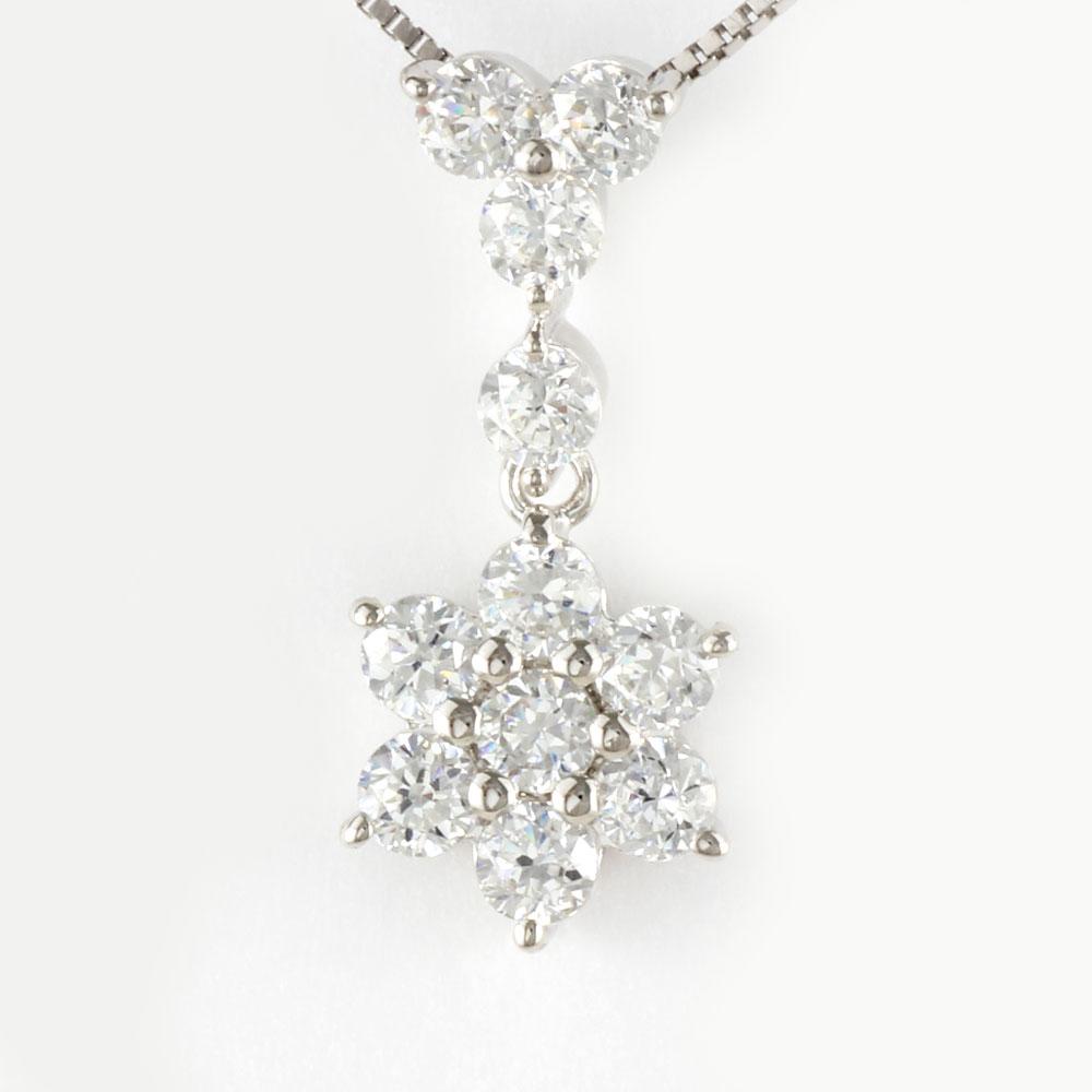 ダイヤモンド ネックレス 18k ペンダント レディース フラワー 花 揺れる ブラ ゴールド k18 18金