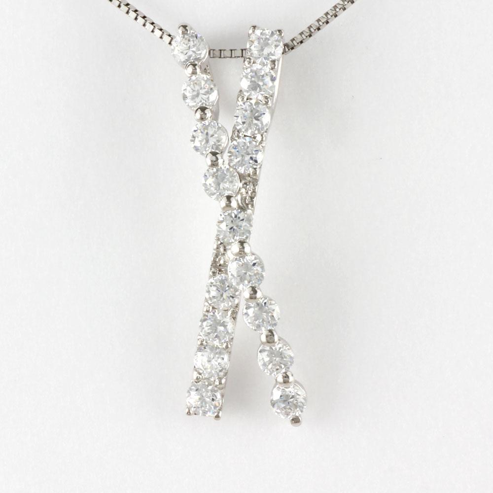 ダイヤモンド ネックレス 18k ペンダント レディース X字 クロス ゴールド k18 18金