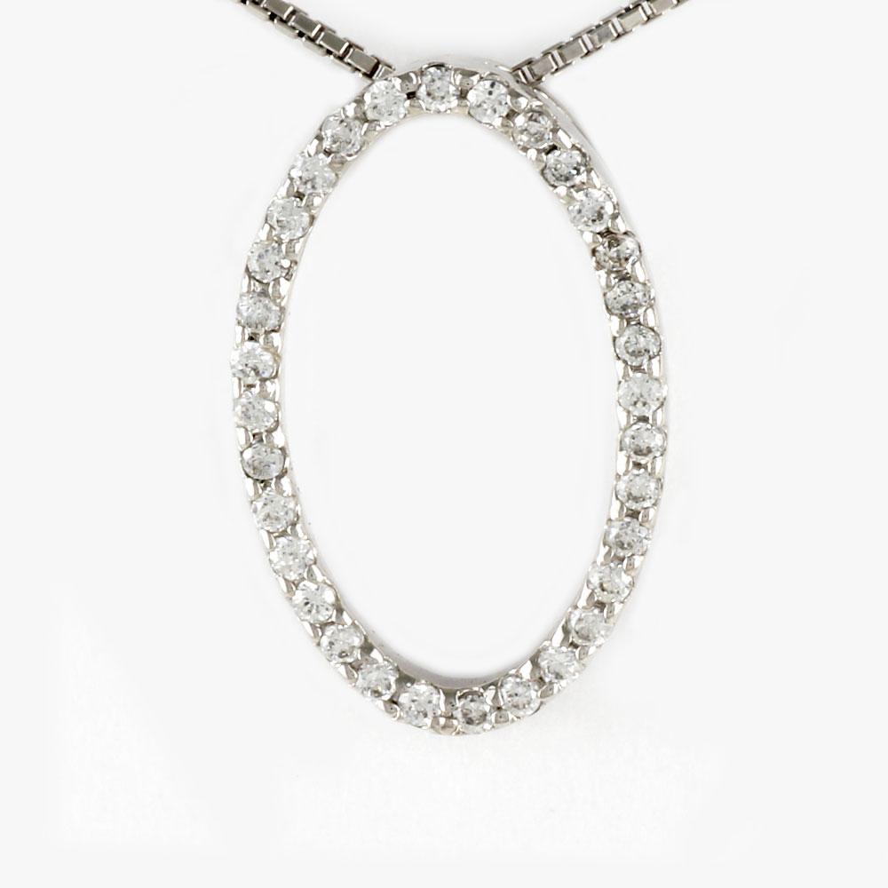 ダイヤモンド ネックレス ペンダント レディース オーバル サークル プラチナ pt900