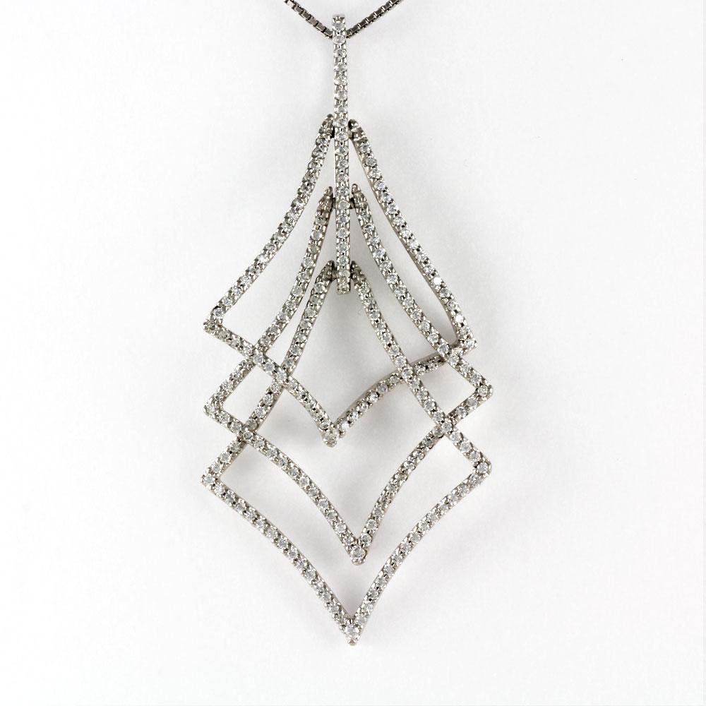 ダイヤモンド ネックレス ペンダント レディース プラチナ ゴージャス 1.0カラット ひし形 3連 pt900