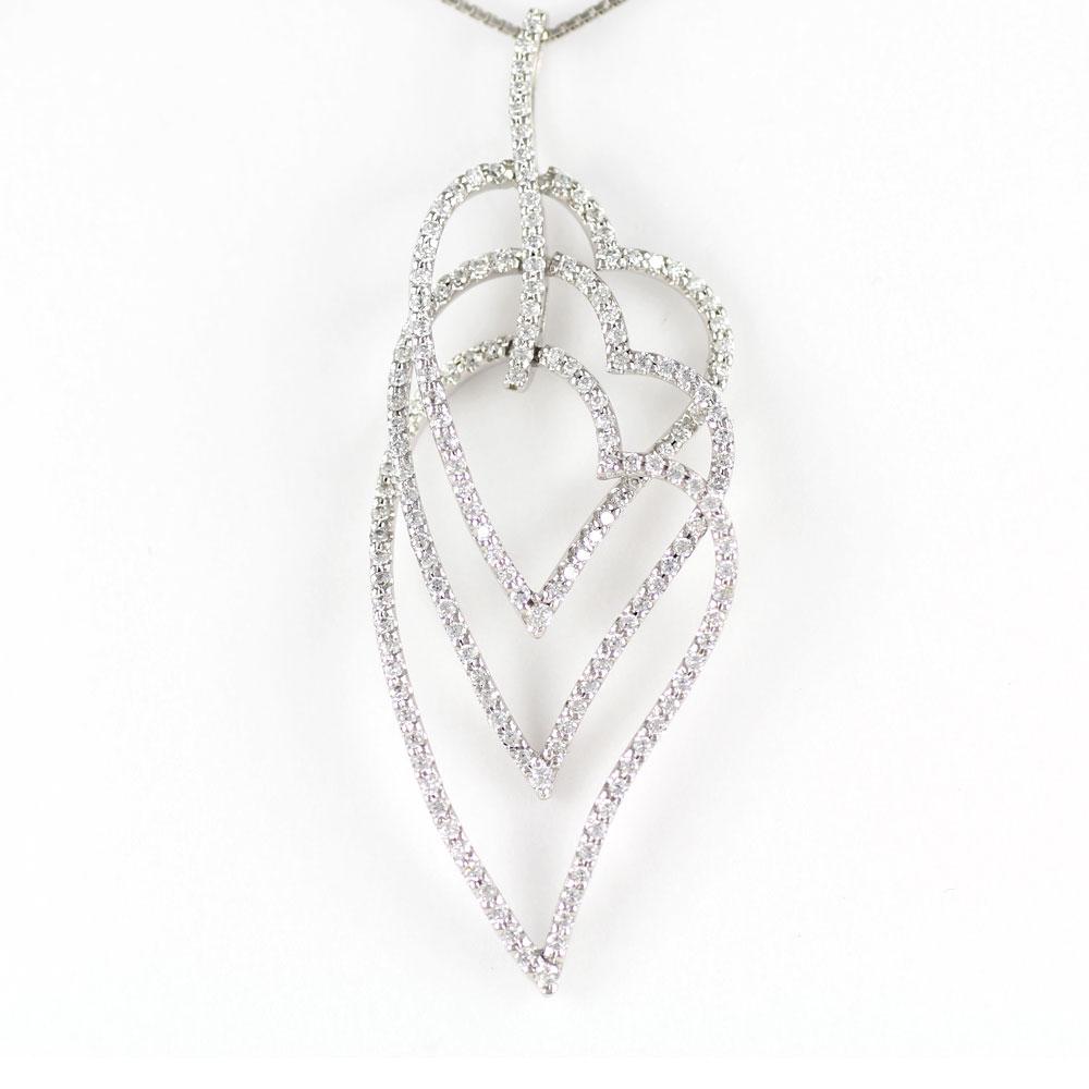 ハート ネックレス ダイヤ ペンダント レディース ダイヤモンド オープンハート プラチナ ゴージャス 3連 pt900