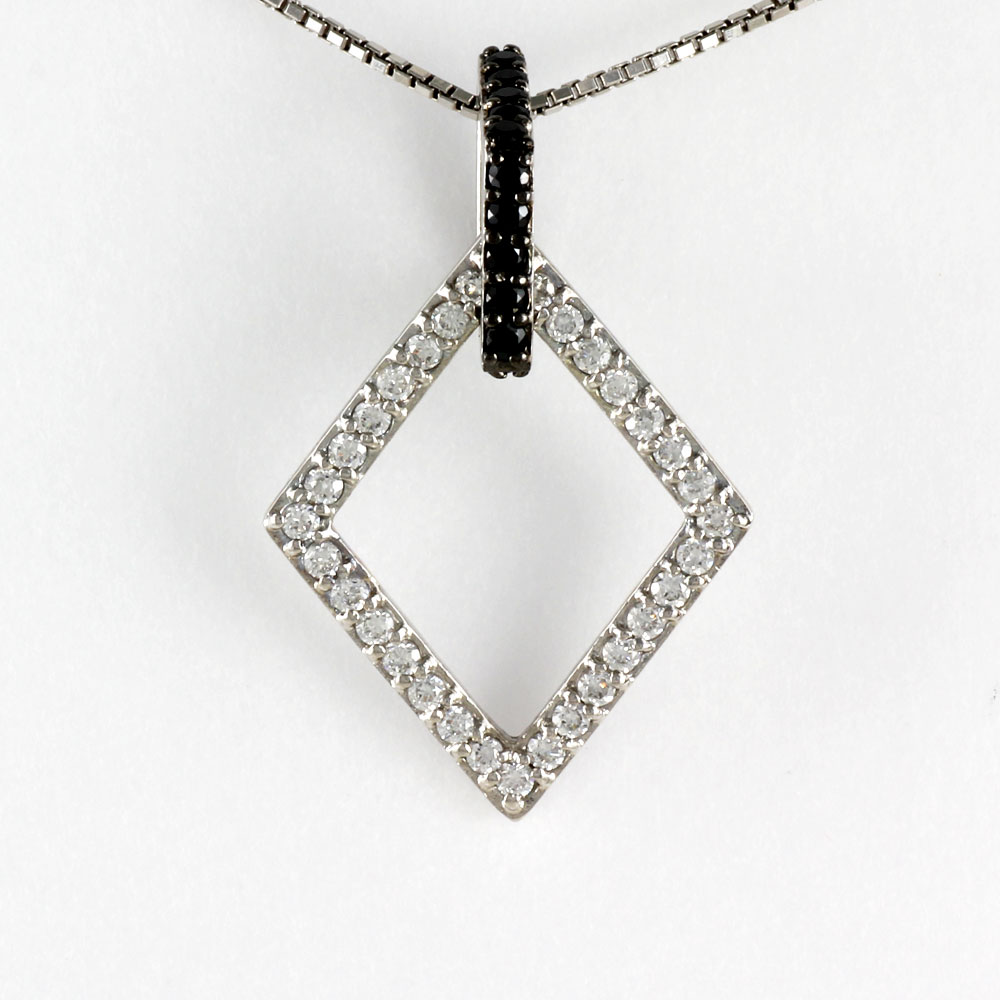 ブラックダイヤモンド ネックレス ペンダント レディース ひし形 菱型 モチーフ 揺れる ブラ ゴールド k18 18k 18金