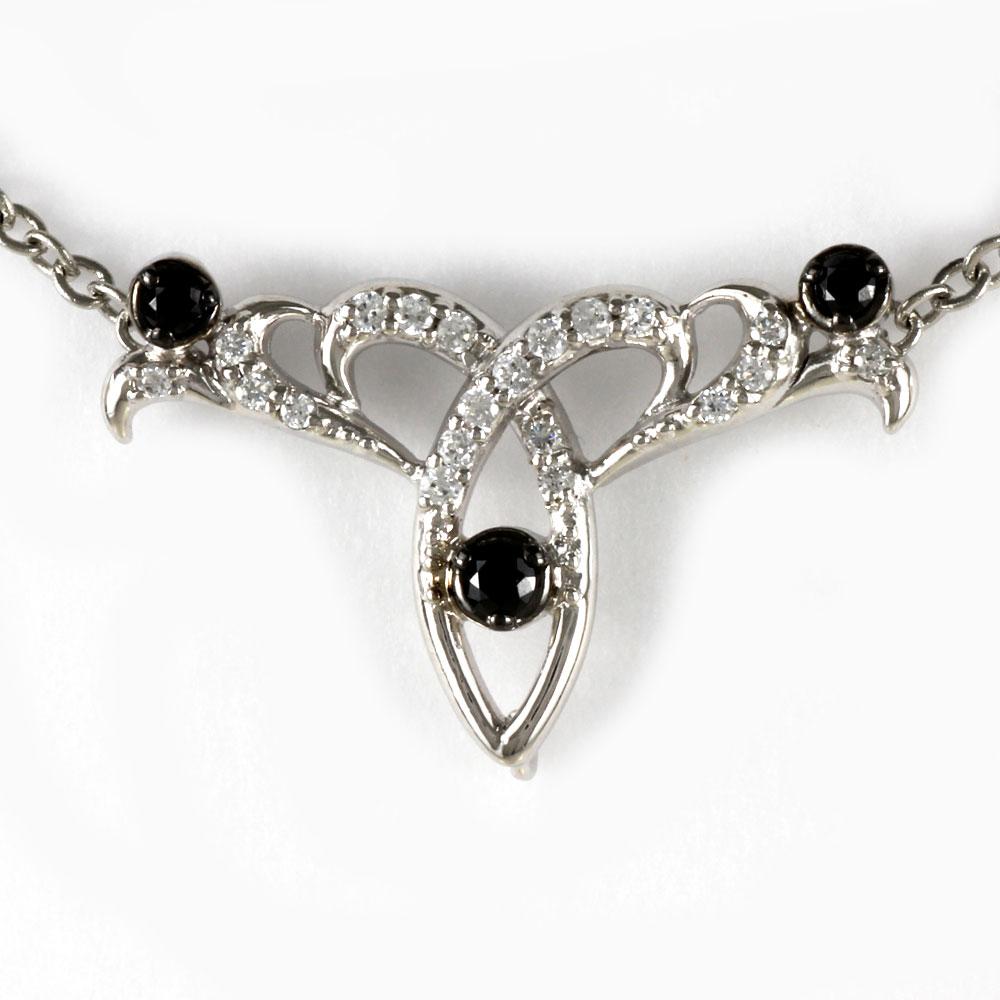 ブラックダイヤモンド ネックレス ペンダント レディース アンティーク プラチナ 透かし ミル pt900