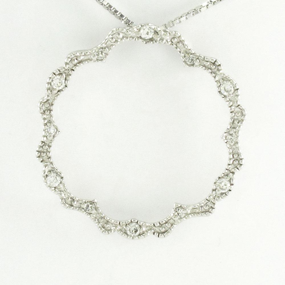 ダイヤモンド ネックレス ペンダント レディース プラチナ アンティーク ミル サークル pt900