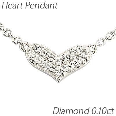 ハート ネックレス ダイヤ ペンダント レディース ダイヤモンド パヴェ プチ ゴールド k18 18k 18金