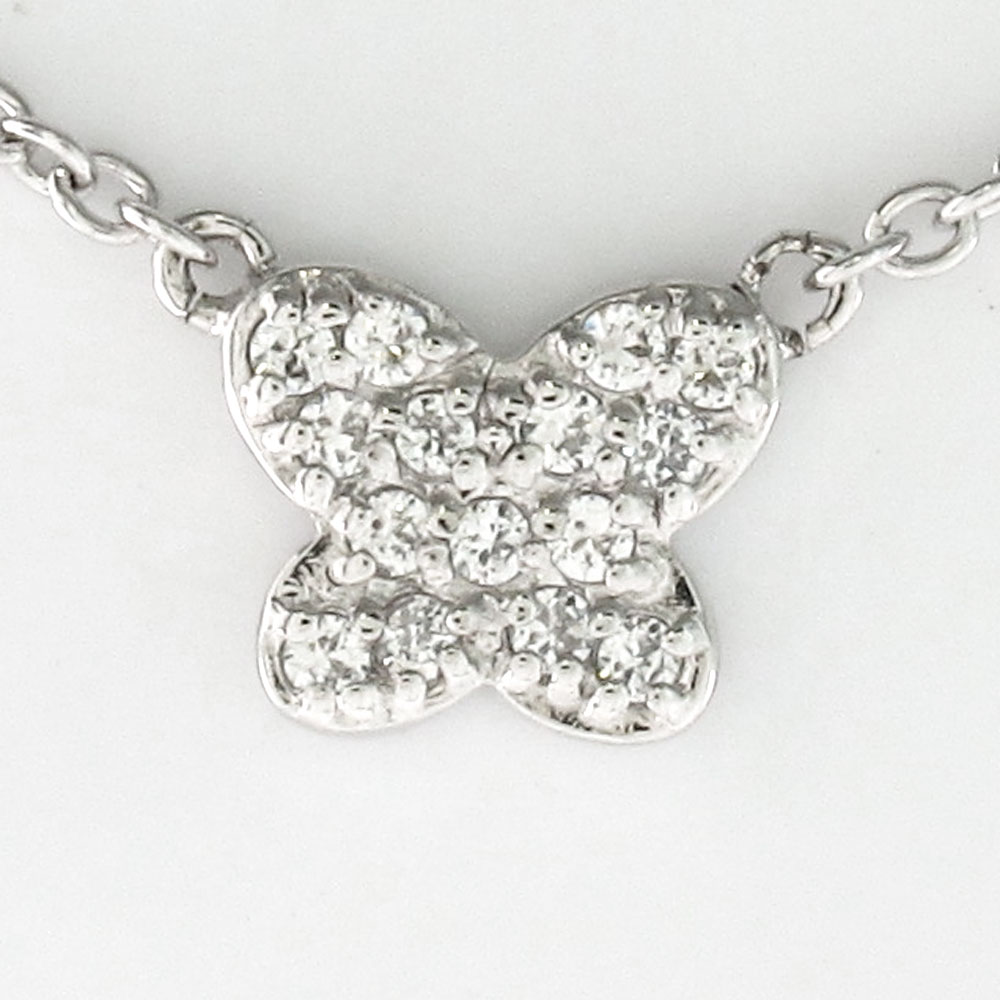 ダイヤモンド ネックレス 18k ペンダント レディース パヴェ バタフライ 蝶 ゴールド k18 18金