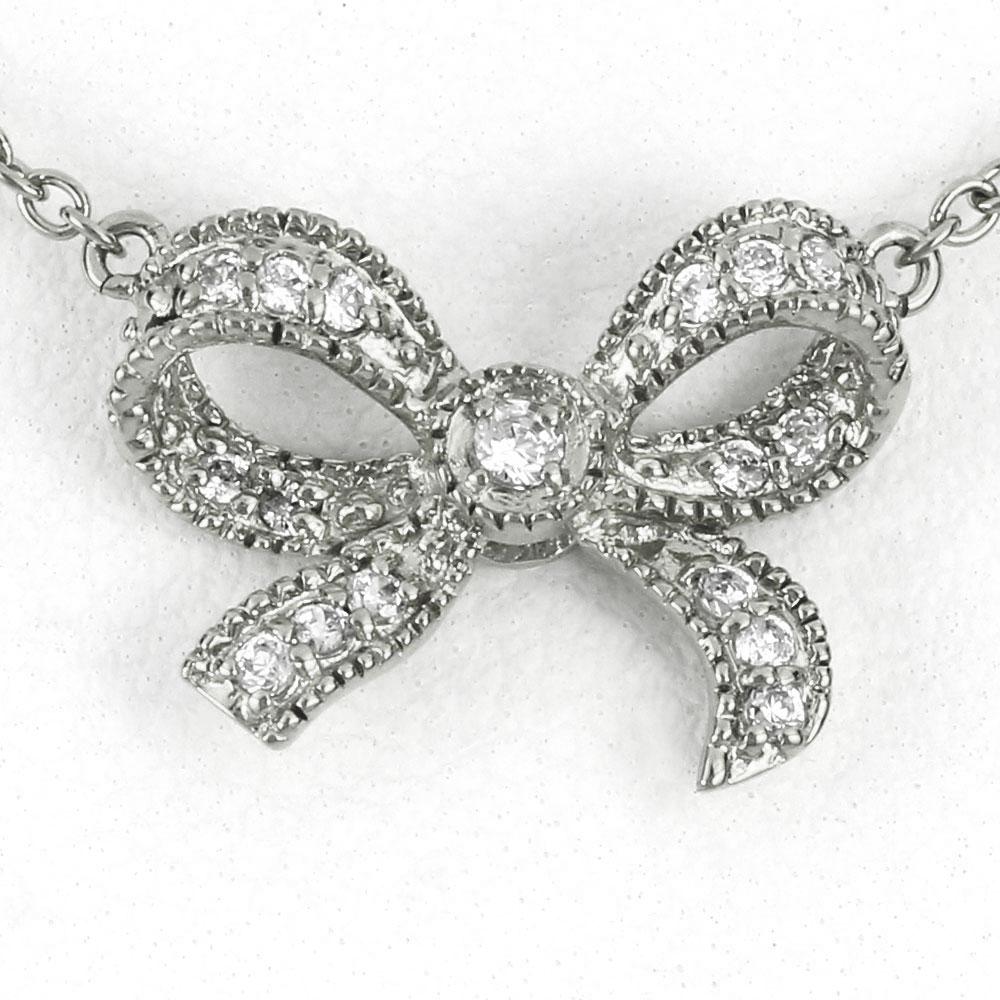 ダイヤモンド ネックレス ペンダント レディース リボン アンティーク ミル プラチナ pt900