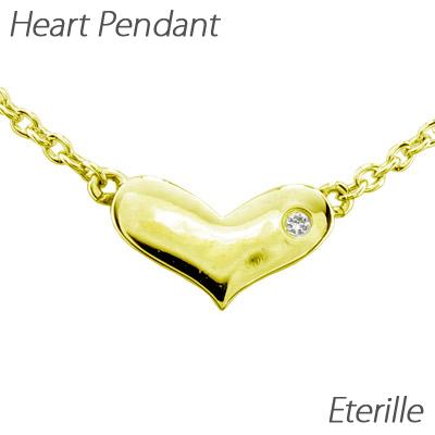 ハート ネックレス ダイヤ ペンダント レディース ダイヤモンド プチ 地金 ゴールド k18 18k 18金