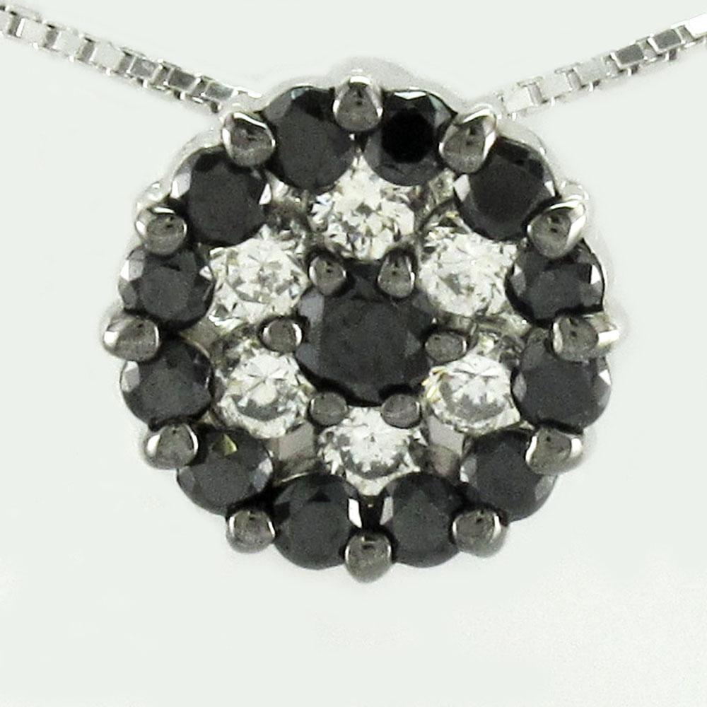 ブラックダイヤモンド ネックレス ペンダント レディース パヴェ プラチナ サークル pt900 0.5カラット